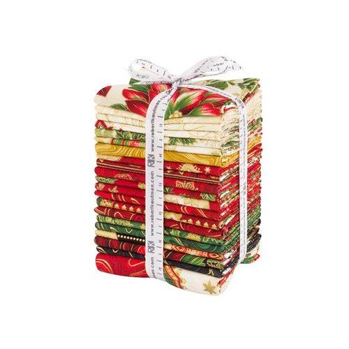 Peggy Toole Holiday Flourish Holiday Fat Quarter Bundle 20 FQs Plus 1 Panel Precut Cotton Fabric Quilting FQs Assortment Metallic Robert Kaufman FQ-1332-21 (Holidays Quilt Fabric Cotton)