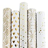 RUSPEPA Gift Wrapping Paper Roll-White & Gold Foil Pattern