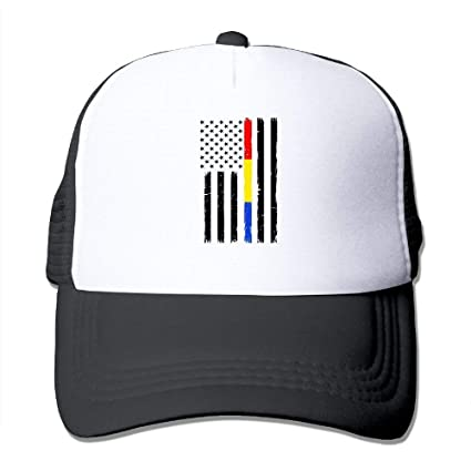 3e19250a9258ce Image Unavailable. Image not available for. Color: J.Lambert Thin Red Blue  Gold Line Flag Men Women Adjustable Snapback Hats ...