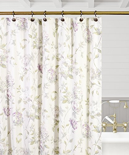 """Simple Comfort Abigail Traditional Hydrangea Floral Print (Shower Curtain, 72 x 72"""", Lilac)"""