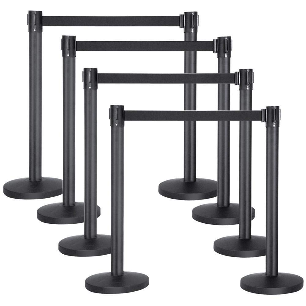 Yaheetech Stanchion Post/Rope/Sign/Set with 6.5 Foot Retractable Belt - Easy Connect Assembly (8-Pack)
