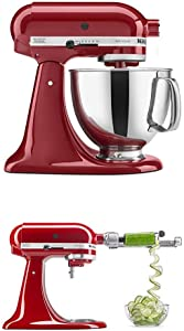 KitchenAid Artisan Series 5-Qt. Stand Mixer- Empire Red and Spiralizer Attachment