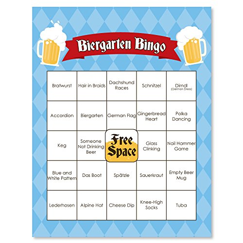 Oktoberfest - German Beer Festival Bingo Game & Bar Bingo Game Cards - 16 Count