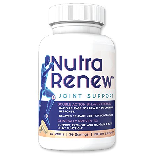 Joint Support With Glucosamine Sulfate + Chondroitin + Turmeric + MSM + Q-Actin – Joint Supplements For Men or Women – Nutra Renew Unique Bi-Layer Tablet With Rapid and Delayed Release