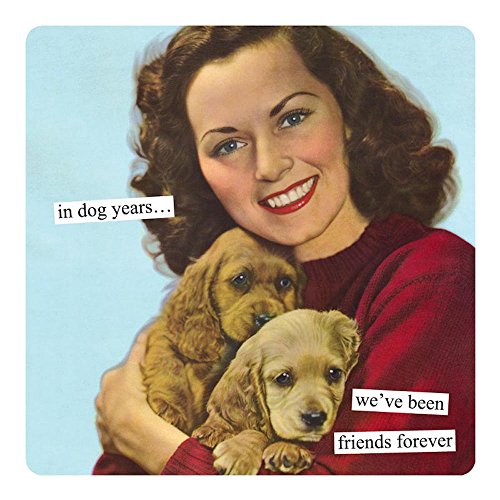 Anne Taintor Square Refrigerator Magnet - In Dog Years..We've Been Friends Forever.