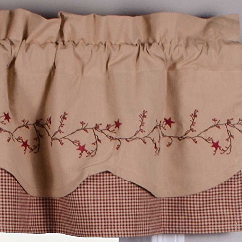Primitive Home Decors Star Berry Vine Gingham Fairfield Valance - Barn Red