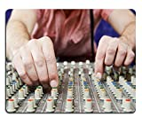Liili Mouse Pad Natural Rubber Mousepads close up hands of sound engineer work with faders and knobs on professional audio musical mixer 28625858