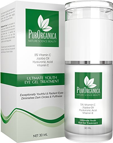 PurOrganica EYE CREAM for Dark Circles, Eye Bags, Puffiness, Wrinkles and Crow s Feet - DOUBLE SIZED 1 OZ - Organic Anti Ageing Cream with Vitamin C, Hyaluronic Acid, Jojoba Oil and Vitamin E