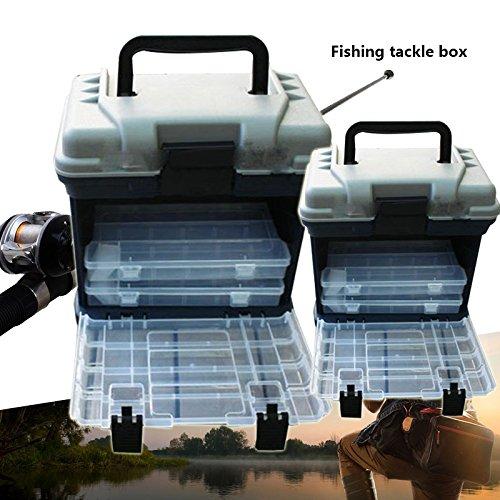 Forfar Caja de pesca 5 Capa grande Pescar Abordar Almacenamiento de Herramientas Caja de la caja con la manija El plastico 27 26cm port/átil al aire libre 17