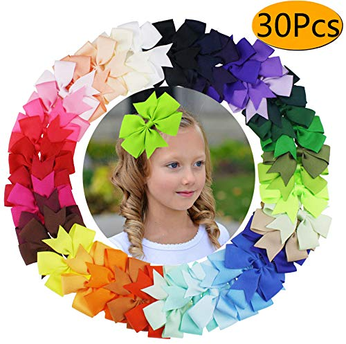 6 inch Hair Bows Grosgrain Ribbon Pinwheel Boutique Hair Bows Clips For Baby Girls Teens Toddlers Kids -