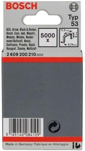 Grapa de alambre fino tipo 53-11,4 x 0,74 x 8 mm pack de 5000 Bosch 2 609 200 210