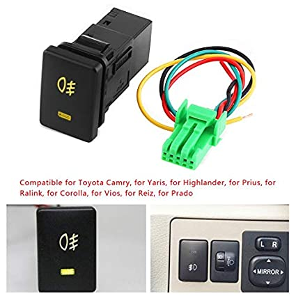 sala store dc 12v foglight switch for toyota 4 wire car foglightsala store dc 12v foglight switch for toyota 4 wire car foglight switch fog light on off button for toyota yellow indicator amazon com