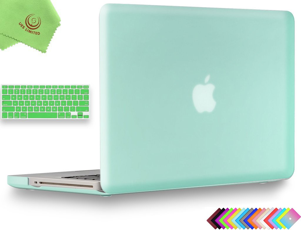UESWILL 2in1 Smooth Soft-Touch Matte Frosted Hard Shell Case with Silicone Keyboard Cover for MacBook Pro 13'' with CD-ROM (Non-Retina)(Model:A1278)+ Microfibre Cleaning Cloth, Green