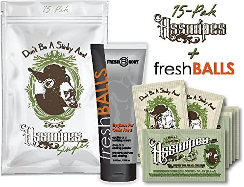 Fresh Balls and ASSWIPES to Go Single Packets with 15 Flushable Individually Wrapped Cleansing Hygiene Wipes with Vitamin E and Aloe Plus One Bottle of Fresh Balls Antiperspirant!