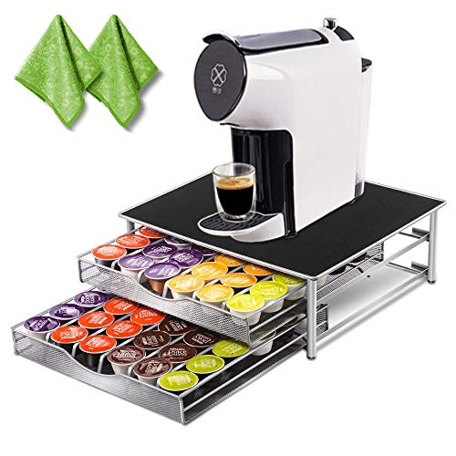 Deluxe Double Layer Storage Drawer Holder for Espresso Capsules 72 Coffee Pod Holder with 2 Pc Cleaning rags (Keurig 2 Pc K Cup Storage Dispenser)