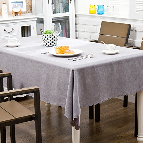 OstepDecor Premium Waterproof Tablecloth Velvet Dinner Picnic Washable Table Cloth Home Decoration Solid Blue - Round 70