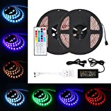 2 Packed 16.4 FT 150 LEDs SMD 5050 RGB Strip Light Kit Weather-proof Color Changing Strong Adhesive Decoration Lighting with 44-key Remote Control and 5A US Power Adapter