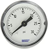 "WIKA 9690217 Commercial Pressure Gauge, Dry-Filled, Copper Alloy Wetted Parts, 1-1/2"" Dial, 0-30 psi Range, +/-3/2/3% Accuracy, 1/8"" Male NPT Connection, Center Back Mount"