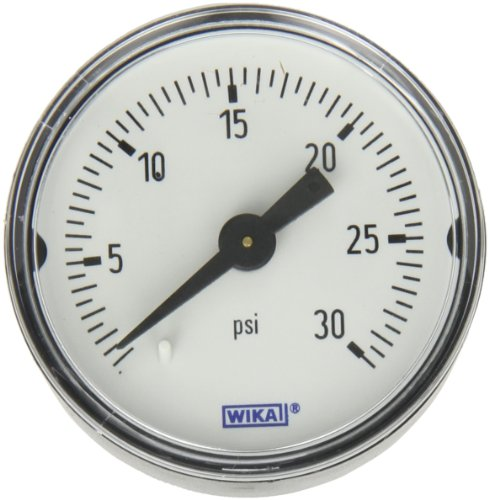 Wika Gauge - WIKA 9690217 Commercial Pressure Gauge, Dry-Filled, Copper Alloy Wetted Parts, 1-1/2