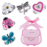 minihope Girls Adjustable Rings Set - Colorful Cute Heart-Shaped, Butterfly, Ladybird, Dragonfly, Flower Rings for Kids, Children's Jewelry Set