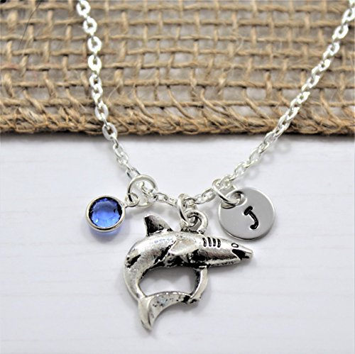(Tiger Shark Necklace - Silver Shark Shaped Jewelry for Girls - Shark Themed Gift ideas - Personalized Birthstone & Initial - Fast)