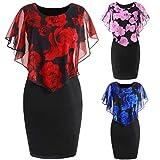 HYIRI O-Neck Ruffles Mini Dress,Fashion Womens Casual Plus Size Rose Print Chiffon