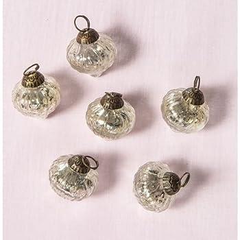 Luna Bazaar Mini Mercury Glass Ornaments (Silver, Tania Design, 1-Inch, Set of 6)