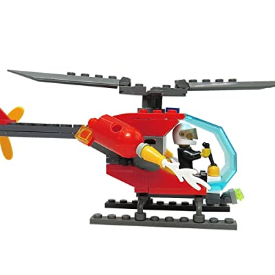 SKAJOWID Bloques De Construcción para Niños, Helicópteros Juguetes Pequeños Bloques De Construcción Partículas Pequeñas, La Cabina Se Puede Abrir, Una Muñeca, Adecuado para Niños: Deportes y aire libre
