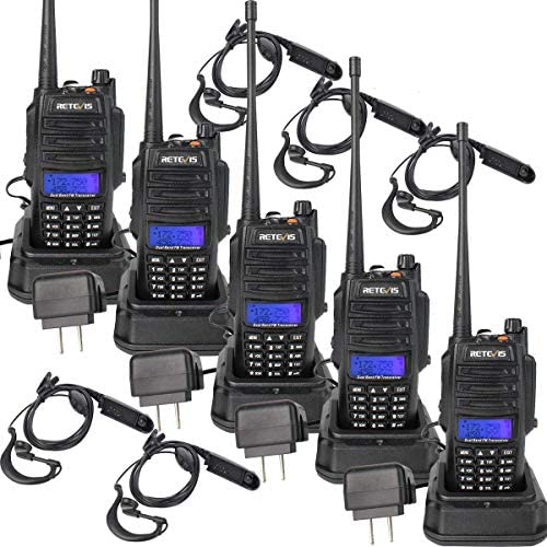 Retevis RT6 Two Way Radios Waterproof 128 CH VHF UHF Dual Band 1800mAh SOS Alarms Flashlight FM Long Range Walkie Talkies with Earpiece 5 Pack