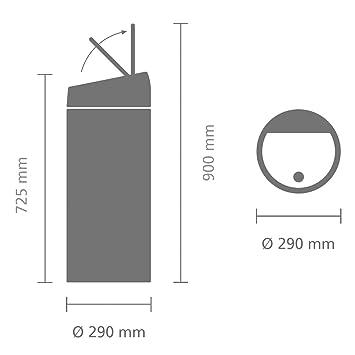 Brabantia Touch Bin - Cubo de basura, 30 litros, cubo interior de plástico extraíble, color negro mate con tapa en acero mate anti-huellas: Amazon.es: Hogar