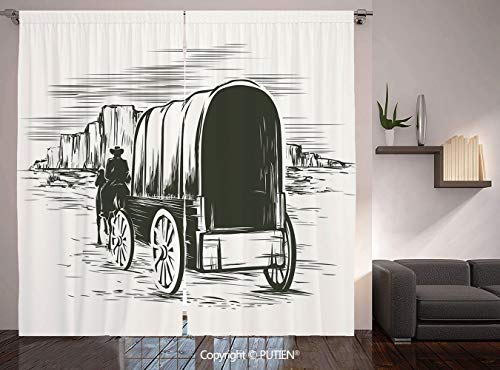 (Thermal Insulated Blackout Window Curtain [ Western,Old Traditional Wagon Wild West Prairies Pioneer on Horse Transportation Cart Decorative,Black and White ] for Living Room Bedroom Dorm Room Classro)