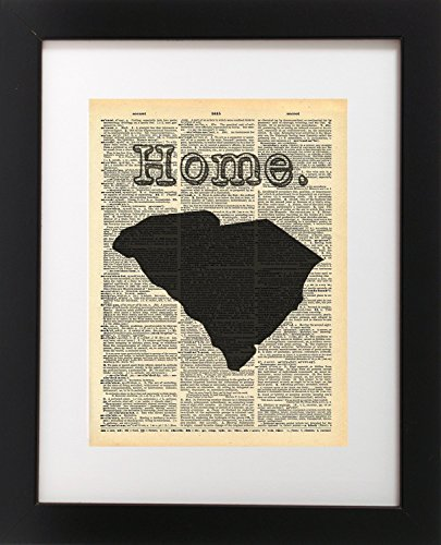 South Carolina Vintage Map Vintage Dictionary Print 8x10 inch Home Vintage Art Abstract Prints Wall Art for Home Decor Wall Decorations For Living Room Bedroom Office Ready-to-Frame - South Carolina Antiques