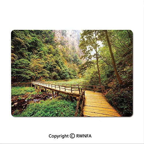 (Medium Mouse pad,Wooden Bridge Over Mountain River Among Trees and Rocks in The Zhangjiajie Forest Park Decorative(8.3