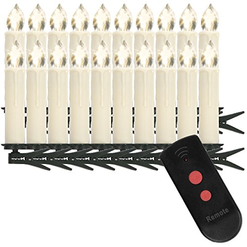 Homelux 20 LED Weihnachtskerzen, Christbaumkerzen, Weihnachtsbeleuchtung, Fernbedienung, Licht Warmweiß, Kabellos, Cremefarben