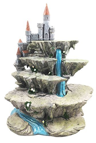 Gifts & Decor Mythical Fantasy Miniature Display Stand Waterfall with Castle Fort Peak Figurine