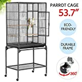 Yaheetech 54'' Wrought Iron Construction Standing Large Bird Cage for African Grey Parrots Cockatiels Sun Parakeets Green Cheek Conures Lovebirds Budgies Finch Canary Bird Cage with Stand