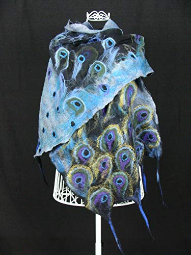 (Peacock Silk Shawl. Nuno Felted Scarf. Evening Wrap. Animal Print. Unique Handmade Scarf. Hand Paint )