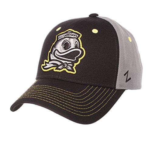 Zephyr NCAA Oregon Ducks Men's Duo Hat, Adjustable, Black/Gray