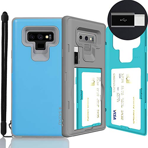 Galaxy Note 9 Case, SKINU [Note 9 Wallet Strap] Note 9 Charger Dual Layer Hidden Credit Holder ID Slot Card Case with Wrist Strap Inner USB type C Adapter and Mirror for Galaxy Note 9 (2018) - Teal
