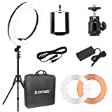 18''Dimmable LED Ring Light, ZOMEi 5500k Output SMD LED Youtube Video and Makeup Ring Light with Stand, Plastic Color Filter With Portable Carrying Bag