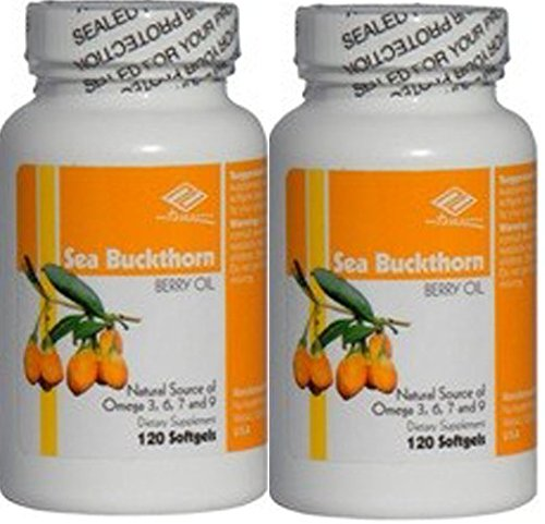 2 x Sea Buckthorn Berry Oil, Natural Source of Omega 3,6,7,9 120 SGels , New Item Good Product !!