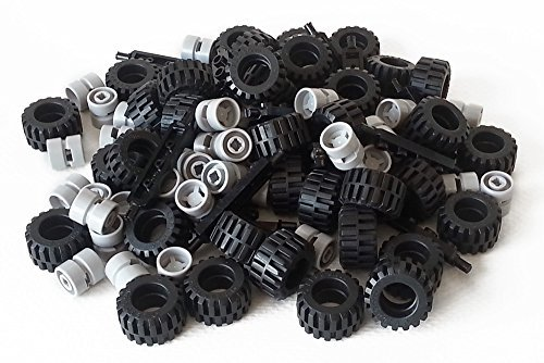 LEGO City Complete Wheel Assembly Lot, 20 Black Axles, 40 Black RUbber Tires, 40 Light Gray Wheels ()