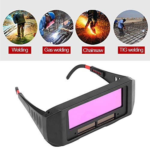1 Pair Solar Auto Darkening Welding Goggle, Safety Protective Shade Autodarking Welding Glasses Lens, Eyes Glasses TIG MIG Anti-Flog Anti-glare Goggles Welder, Black