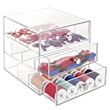 mDesign Art Supplies, Crafts, Crayons and Sewing Organizer with 3 Drawers - Clear