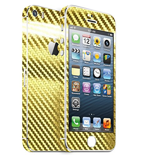 IPHONE 5S 2D GOLD CHROM CARBON FOLIE SKIN ZUM AUFKLEBEN bumper case cover schutzhülle i phone