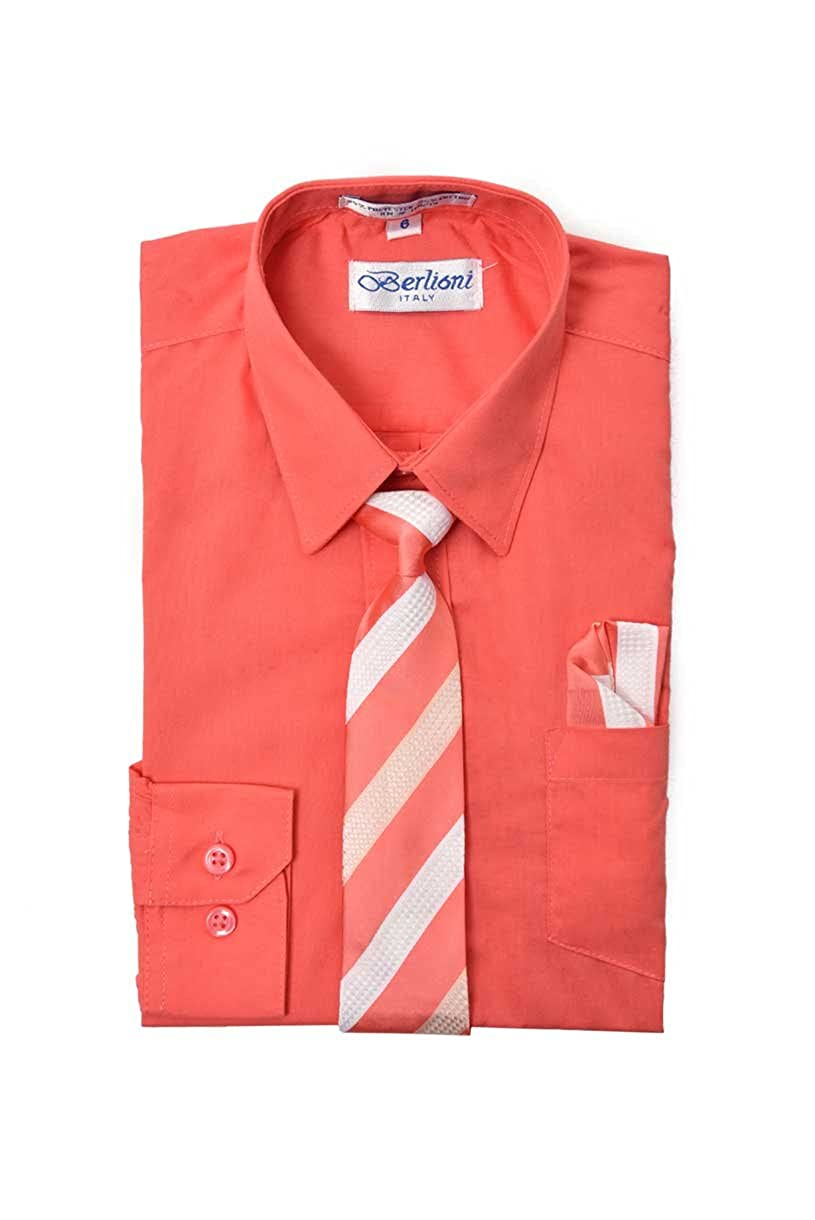 great quality many fashionable cheapest King Formal Wear Elegant Boys Button Down Coral (717) Dress  Shirt/Necktie/Hanky