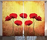 Poppy Decor Curtains by Ambesonne, Poppies on An Old Dated Aged Retro Featured Backdrop Design Past Days Drama Petals, Living Room Bedroom Decor, 2 Panel Set, 108 W X 90 L Inches, Scarlet Light Yellow Review