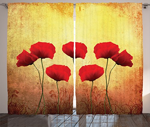 Ambesonne Poppy Decor Curtains, Poppies on an Old Dated Aged Retro Featured Backdrop Design Past Days Drama Petals, Living Room Bedroom Decor, 2 Panel Set, 108 W X 90 L - Artwork Poppies