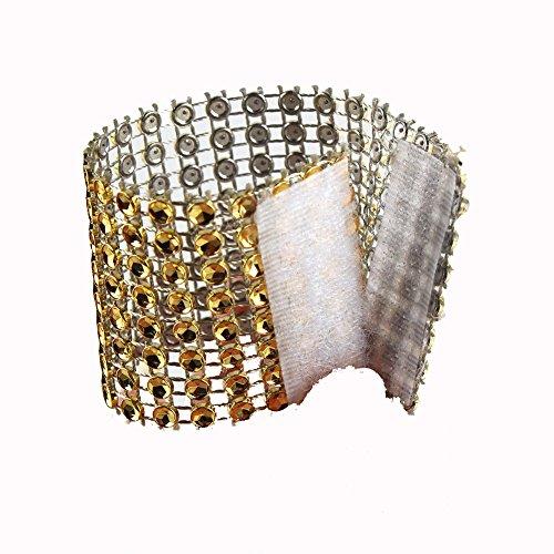 Elina Home Chairs Sash Bows Banquet Wedding Birthday Party Decor Plastic Rhinestone Napkin Rings Cum Holder, Gold, 50 Piece