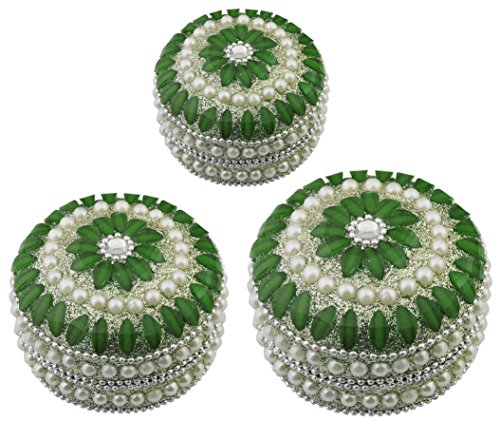 Set of 3 -Handmade Decorative Box -Green Round Beaded Christmas Decor Jewelry Box for Necklace, Earrings, Ring -3
